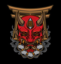 traditional oni mask tattoo vector image
