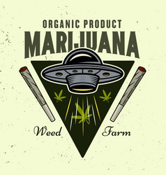 Ufo and marijuana leaves colorful emblem vector