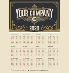 vintage calendar with floral ornaments for 2020 vector image