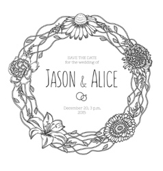 Vintage floral wreath wedding invitation vector
