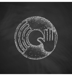 vinyl and dj hand icon vector image