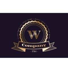 W letter icon logo vintage vector image