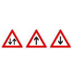 warning - singletwo way traffic sign black arrow vector image
