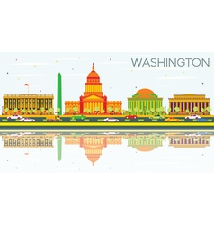 Washington DC Skyline with Color Buildings vector image