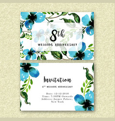 watercolor floral wedding anniversary invitation vector image