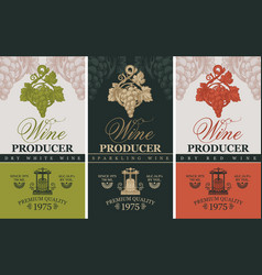 Wine labels with wine press and grape bunches vector