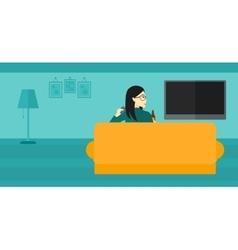 Woman watching TV vector