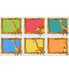 Wooden frame design with giraffe vector image