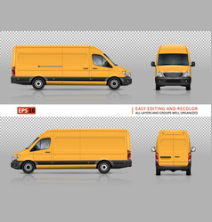 Yellow van template vector