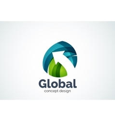 Globe with arrow logo template vector image