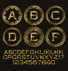 golden angular monogram kit gold letters and vector image