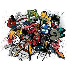 graffiti elements explosion vector image vector image