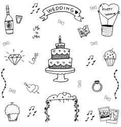 Wedding in doodle hand draw vector image
