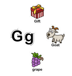alphabet letter g-gift goat grape vector image