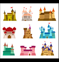 castles and fortresses flat design icons vector image
