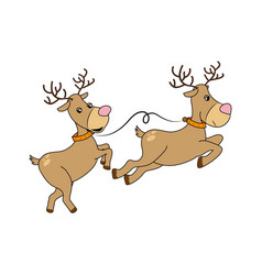 color silhouette with reindeers couple vector image