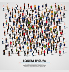 large group of people crowded on white background vector image