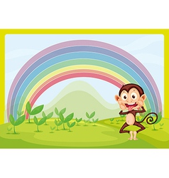 Monkey with a raindow vector image vector image