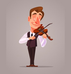 violinist man character playing music vector image