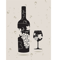 Bottle wine glass grapes vector image