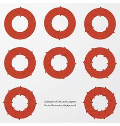 collection of red color arrow circle flows vector image