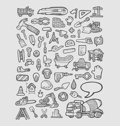 Construction icons sketch vector image
