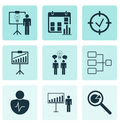 set of 9 authority icons includes report vector image vector image