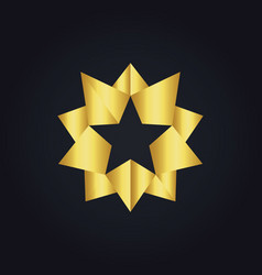 star 3d gold abstract logo vector image