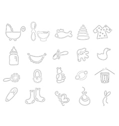Thin line baby icons vector image vector image