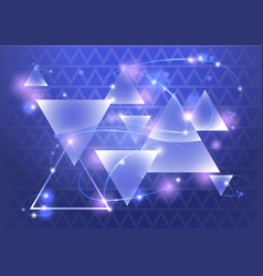 abstract triangle background with bokeh and flares vector image