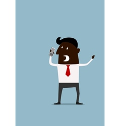 Angry frustrated afroamerican businessman vector image
