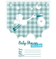 Baby boy invitation with stork vector