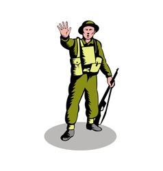 British soldier serviceman with rifle vector image