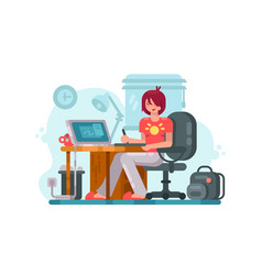 girl designer at workplace vector image vector image