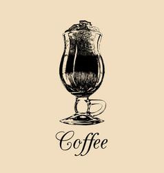 glass mug cup of coffee frappe vector image