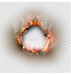 hole torn in ripped paper with burnt and flame vector image