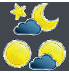 icons of the weather night with moon and stard vector image vector image