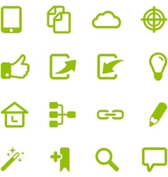 Set of bright green icons vector image vector image