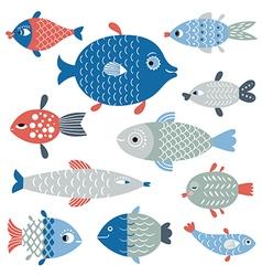 set of fish art flat style vector image vector image