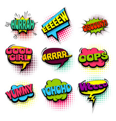 set oops yummy colored comics book balloon vector image vector image