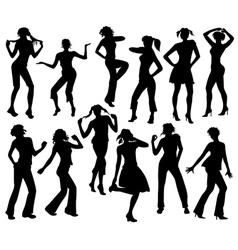 Twelve silhouettes of dancing girls vector image vector image