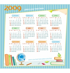 2009 colorful educational calendar vector image