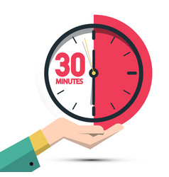 30 thirty minutes clock in hand time symbol vector