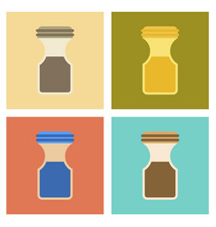 Assembly flat icons coffee jar vector