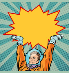 Astronaut holding comic bubble vector
