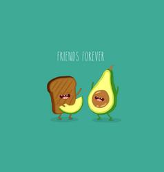Avocado and brown bread vector