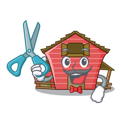 Barber character red barn building with haystack vector