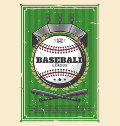 baseball league championship old retro poster vector image