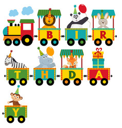 Birthday train with characters vector