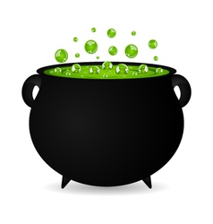 black cauldron witches potion for halloween vector image
